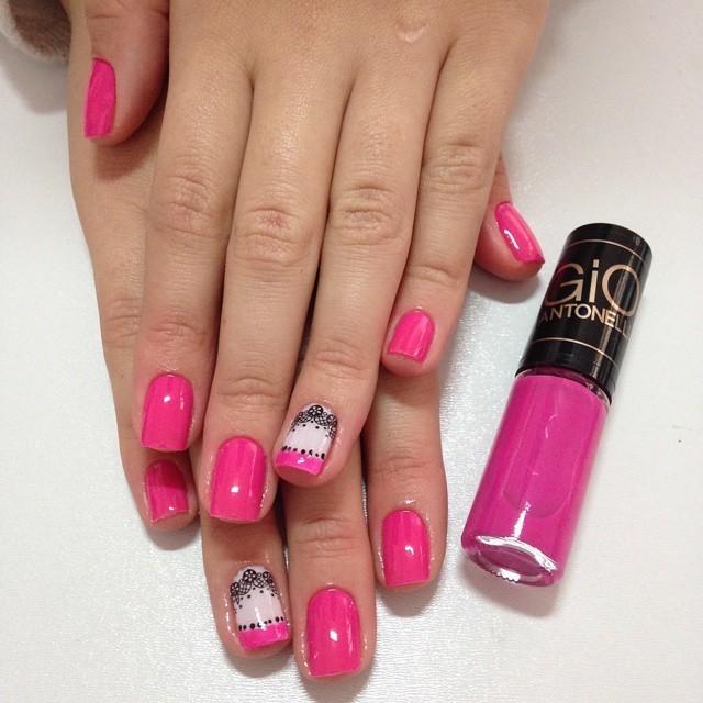 unha decorada, filha unica, rosa bala, renda unhas  manicure e pedicure