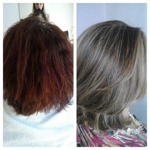 Antes e Depois/ Mechas 1ª sessão de mechas para a retirada do tom acobreado,antes existente. cabeleireiro(a)