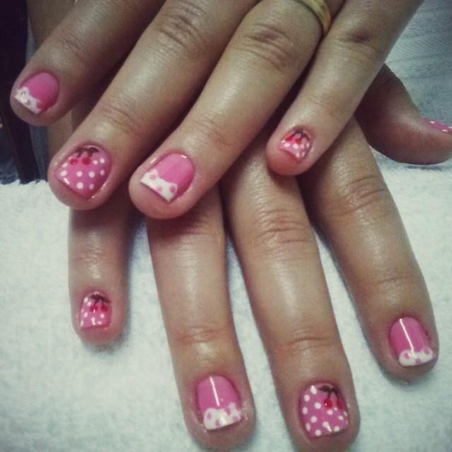 cereja, crianças, doce, bolinha, rosa delicado, dia-a-dia unhas  manicure e pedicure