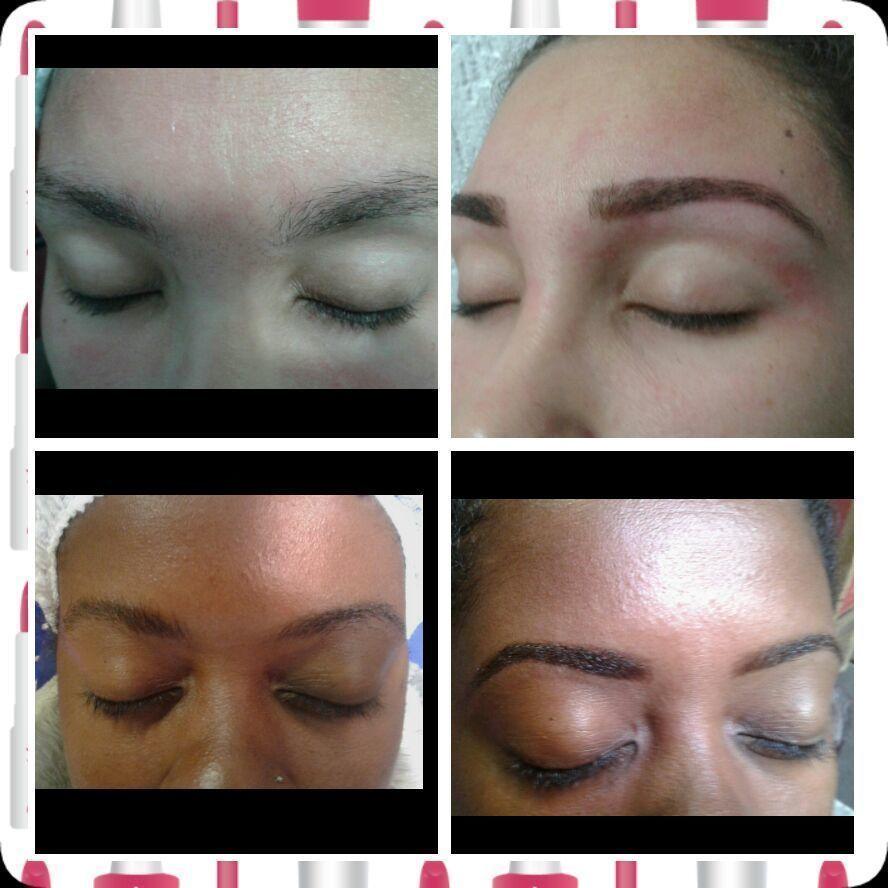 Trabalhos antes e depois trabalhos de design com aplicações de henna designer de sobrancelhas depiladora