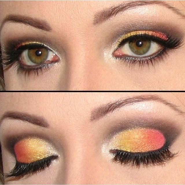 Eyes in flames Técnica de cut crease com esfumado vertical com degradé, na cores vermelho, laranja, amarelo e branco. maquiagem, amarelo, laranja, vermelho maquiagem  maquiador(a) cabeleireiro(a) consultor(a) em imagem