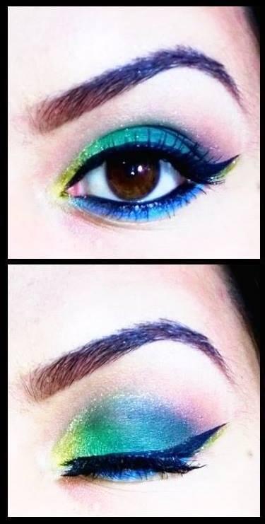azul, verde, amarelo maquiagem  maquiador(a) designer de sobrancelhas