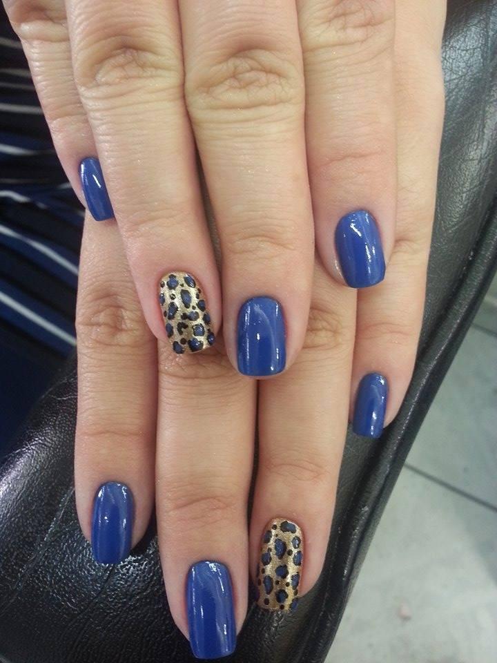 azul, dourado, oncinha unhas  manicure e pedicure