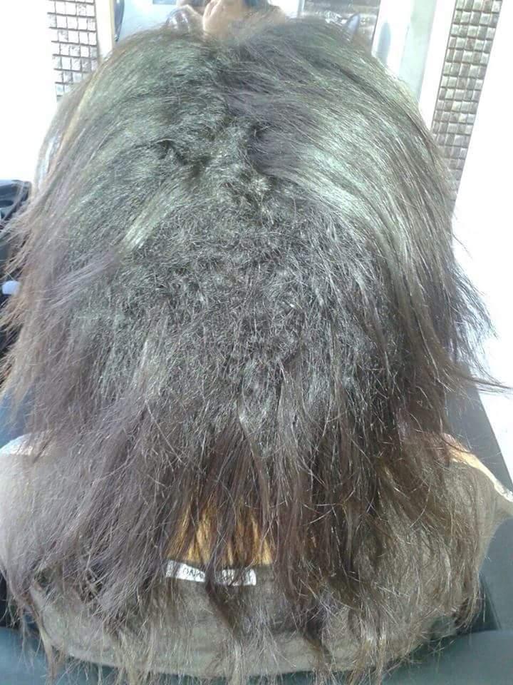 Antes Plástica dos fios auxiliar cabeleireiro(a)