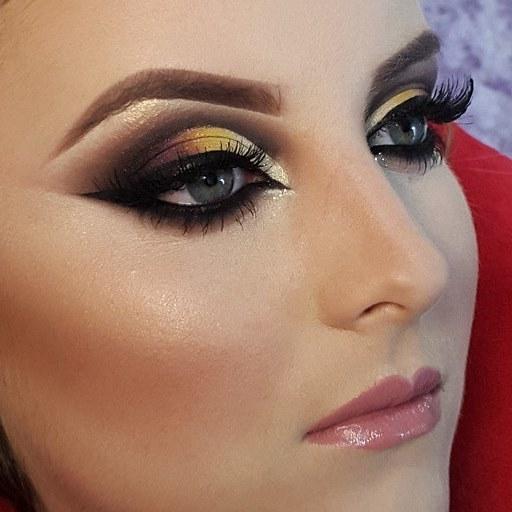 Makeup  amarelo, marrom maquiagem  maquiador(a)