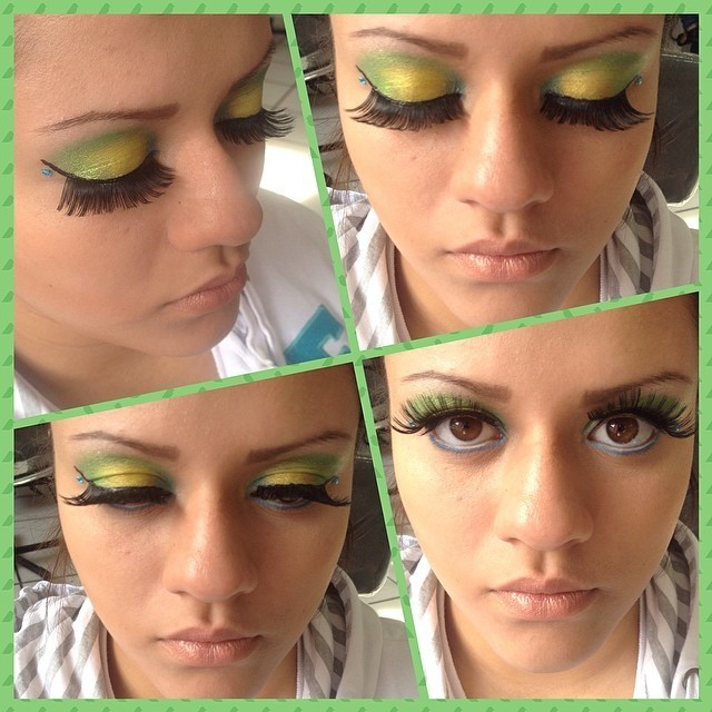 Make up Maquiagem realizada durante o curso de maquiador profissonal no instituto embelleze. Aula de maquiagem para a copa. recepcionista esteticista maquiador(a) designer de sobrancelhas