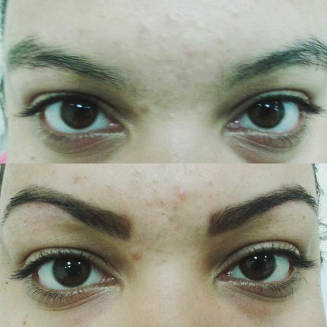 Henna + pinça Antes e depois. recepcionista esteticista maquiador(a) designer de sobrancelhas