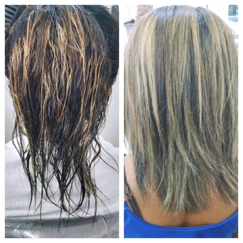 Luzes e matização (Antes e depois). auxiliar cabeleireiro(a)