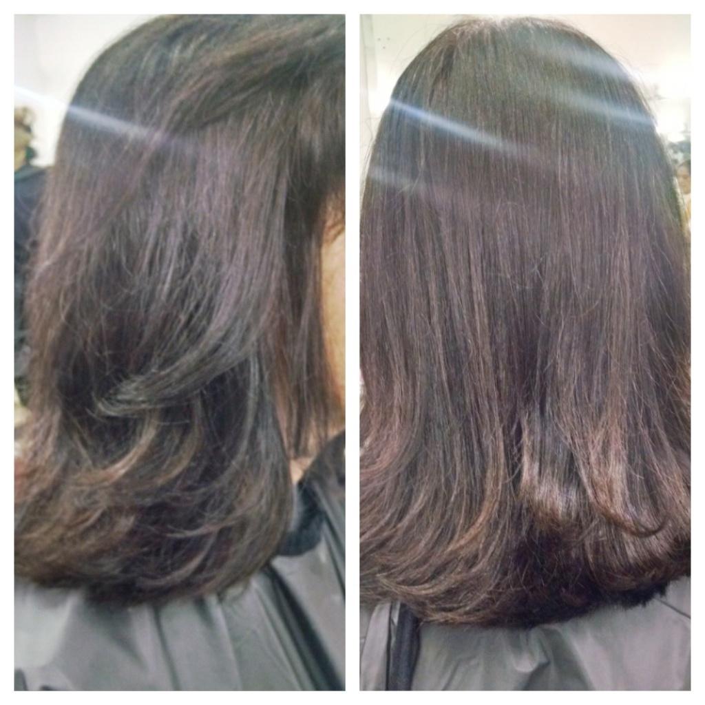 Coloração(cobertura de brancos) e escova. Cliente tinha 30% de fios brancos. auxiliar cabeleireiro(a)