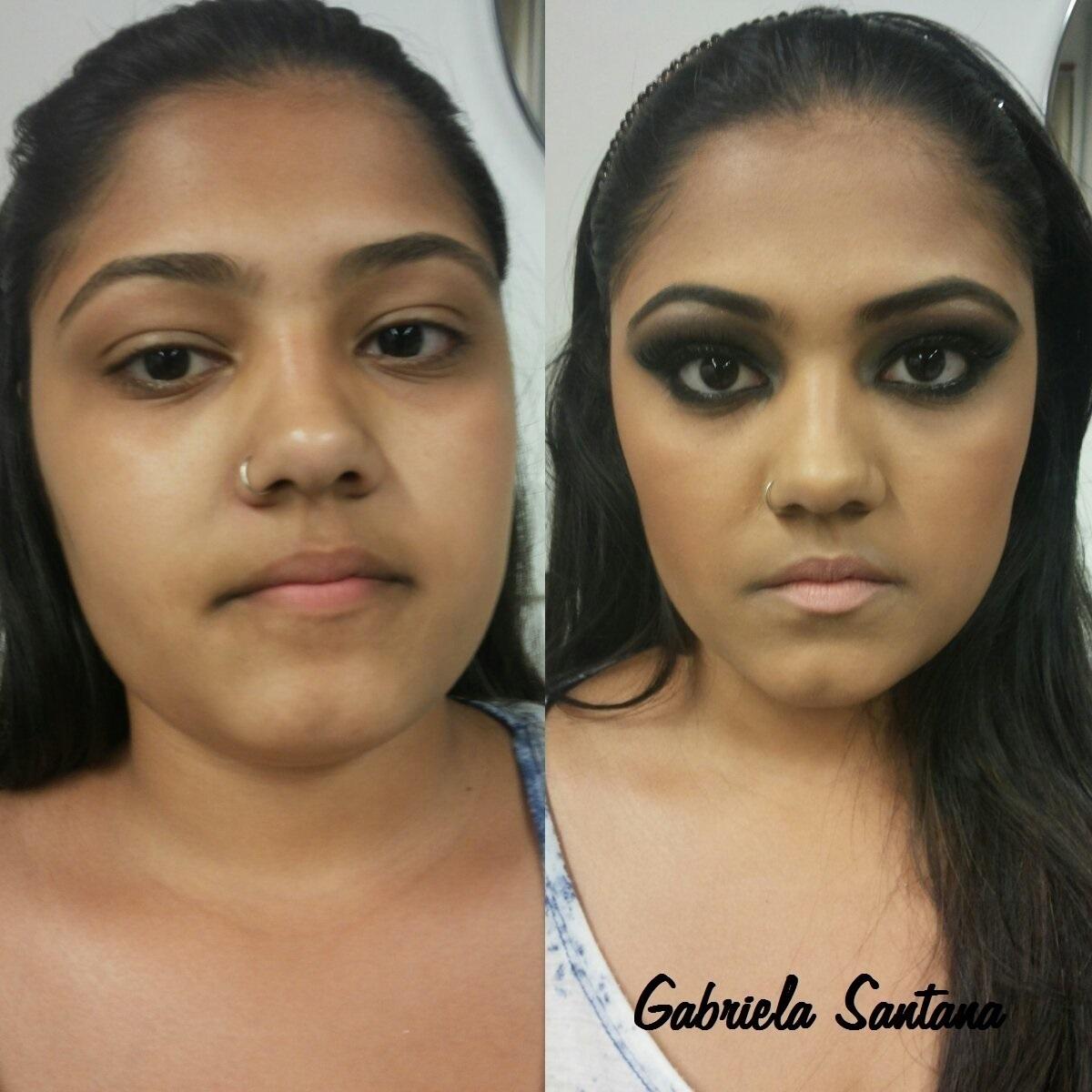 Maquiagem - Smokey Eyes Black Na pele foi feita a técnica de contorno e iluminação. E nos olhos esfumados com preto e marrom e nos lábios batom nude. maquiador(a)