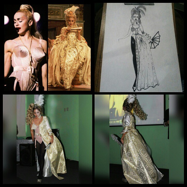 Madonna anos 90 efetuado recriação do look completo Madonna vogue como inspiração, em dois momentos, feito pesquisa, croquis, figurinos, maquiagem e cabelo visagista cabeleireiro(a) consultor(a) em imagem stylist
