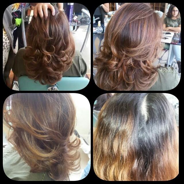 cor efetuado, técnica com mesclagem de três tons, divisão pivotal... visagista cabeleireiro(a) consultor(a) em imagem stylist