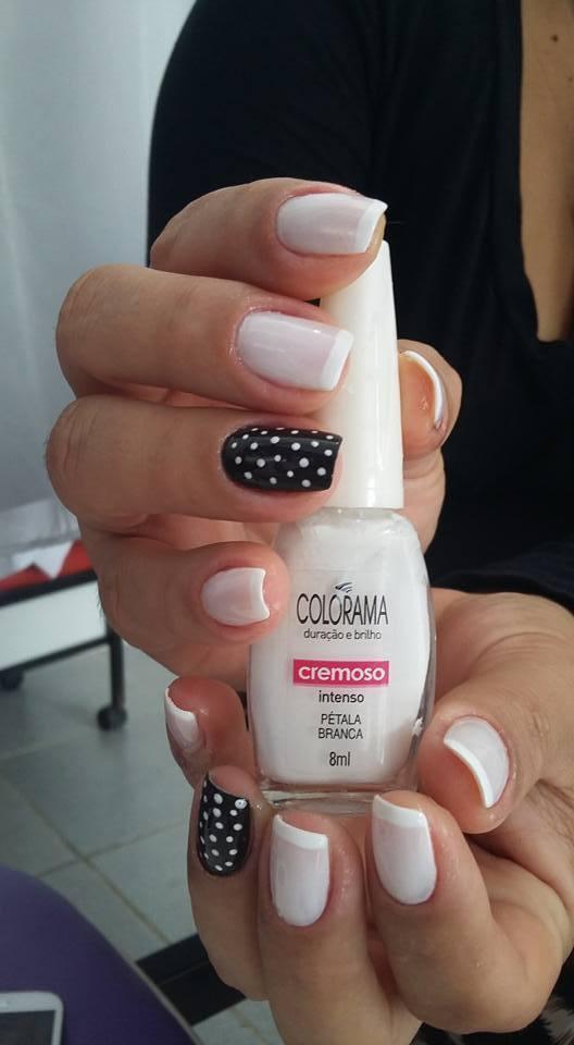 francesinha, decorado, preto e branco unhas  cabeleireiro(a) manicure e pedicure