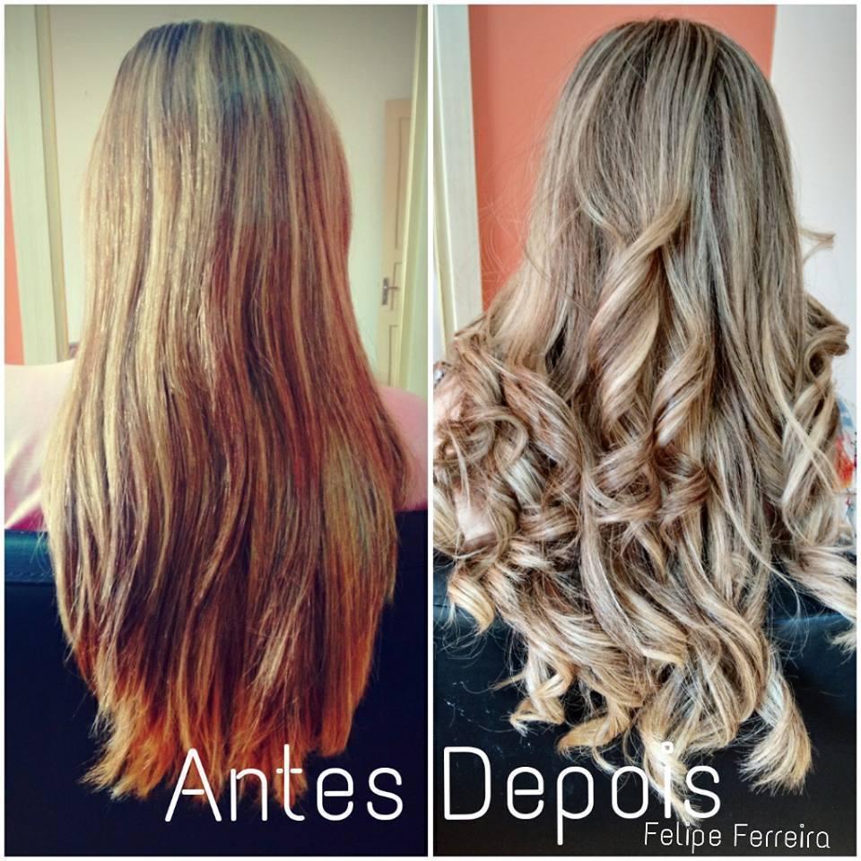 Correção de coloração Antes cabelo em tom alaranjado indesejado pelo cliente, depois louro claríssimo perolado. cabeleireiro(a) maquiador(a) stylist visagista terapeuta vendedor(a)