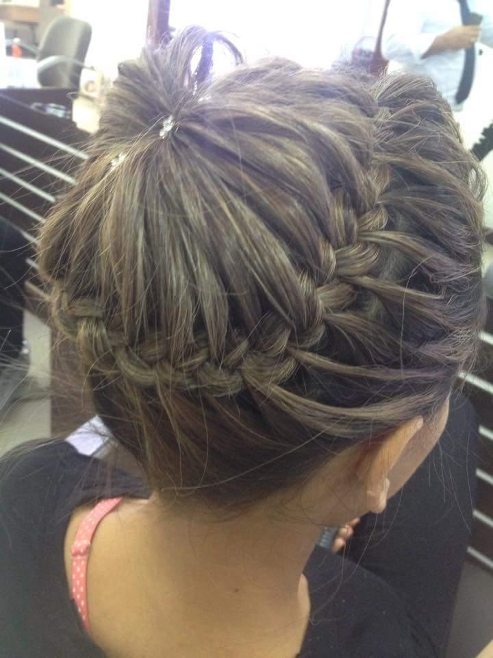 Teste para penteado de uma cliente coque com trança (só moldado sem preparaçao ou produtos)  cabeleireiro(a) barbeiro(a)