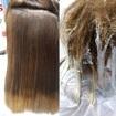 correção de cor + hombré hairfoi feito devolução de pigmentos nas parte manchadas e depois feito ombre hair finalizando com escova