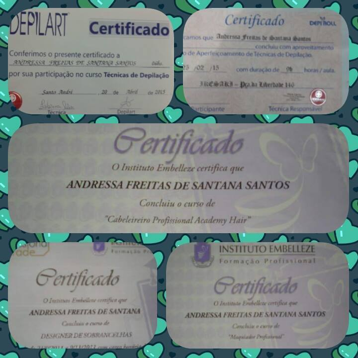 Diplomas Meus Diplomas como Cabeleireira, Designer de Sobrancelhas, Maquiadora e Depiladora.  auxiliar cabeleireiro(a) recepcionista auxiliar administrativo auxiliar cabeleireiro(a)