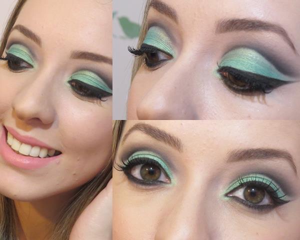 Maquiagem Cut Crease Maquiagem linda com técnica cut crease. #maquiagem #makeup #makecutcrease #thaisbarros verde água, preto  maquiagem  maquiador(a) designer de sobrancelhas