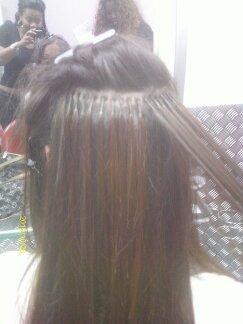 Alongamento de queratina Meia cabeça alta, cabelo de 70cm , 300gr maquiador(a) cabeleireiro(a)