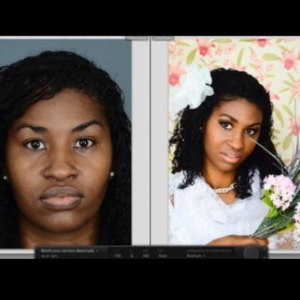 Antes e depois  Maquiagem de noiva maquiador(a) cabeleireiro(a)