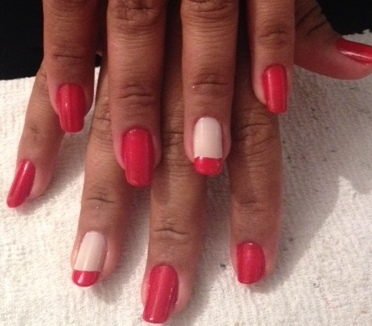 vermelho, branco unhas