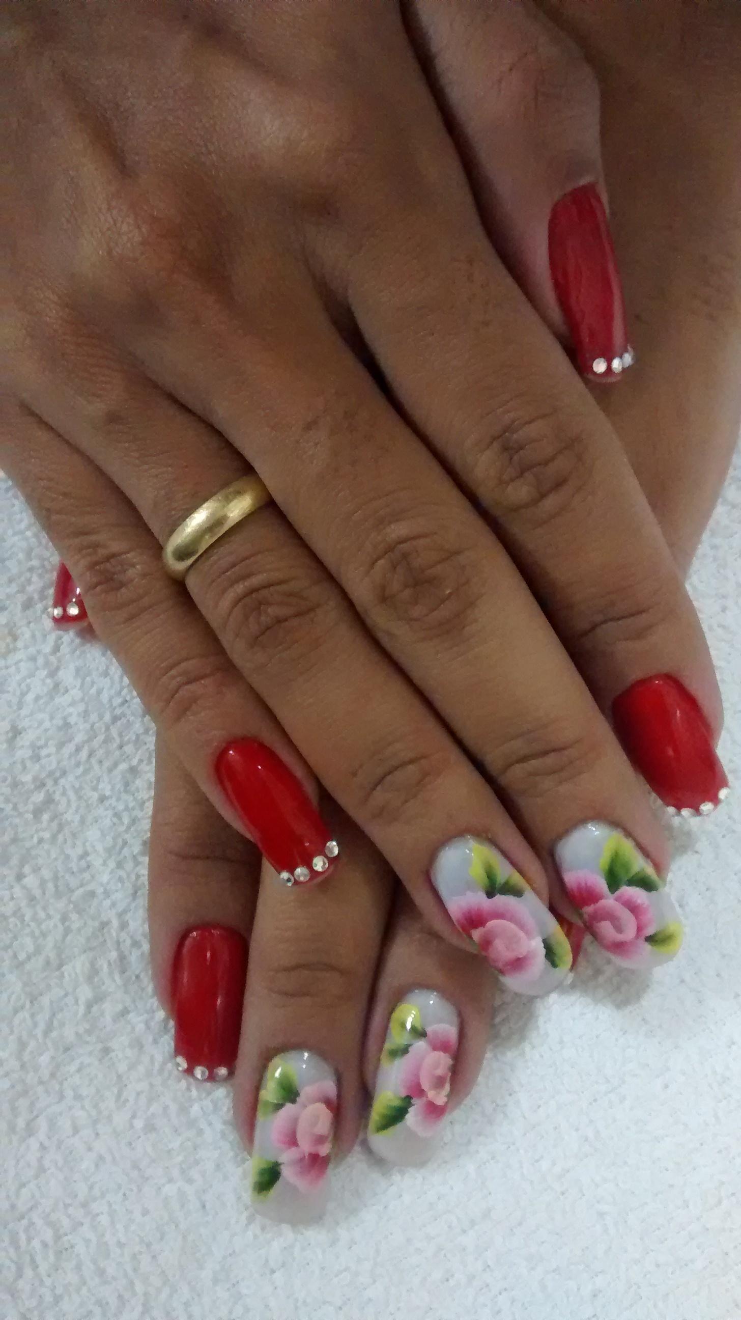 vermelho, strass, rosas unhas  manicure e pedicure