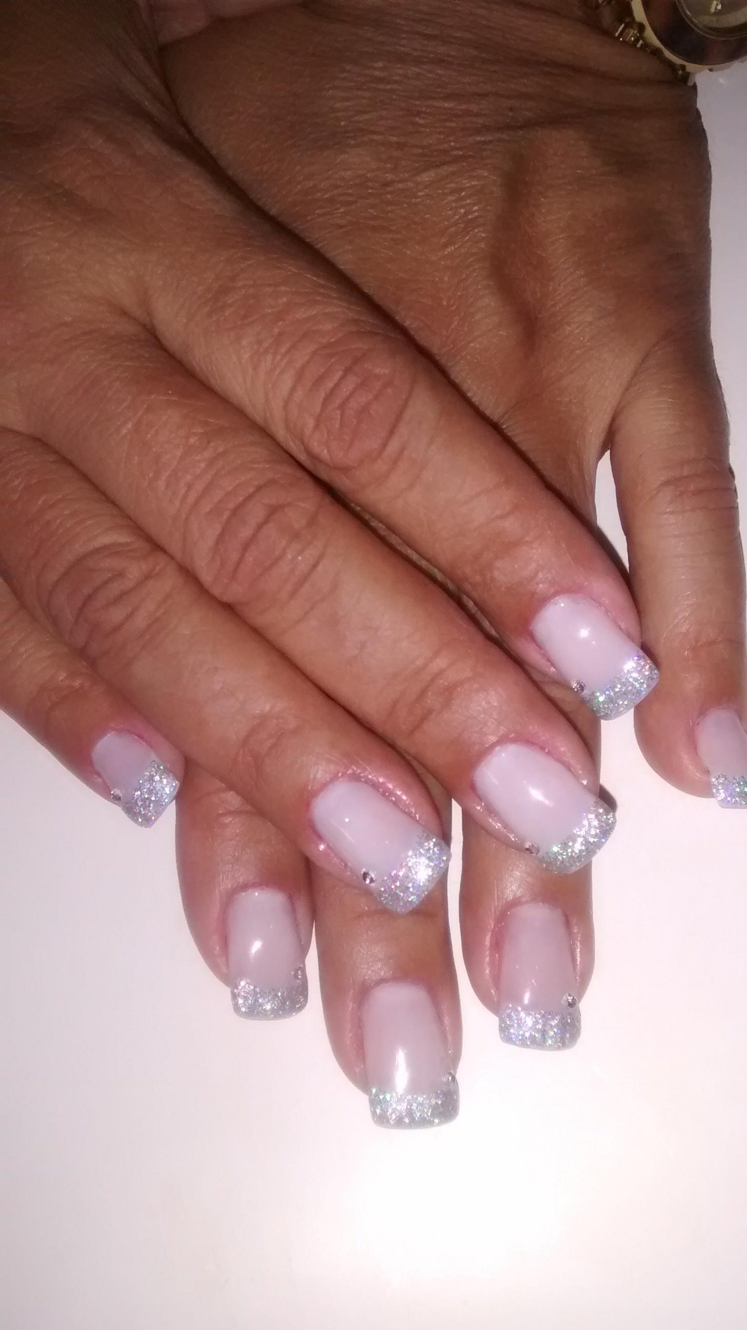 branco, glitter, francesinha, prata unhas  manicure e pedicure