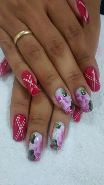 rosa escuro, flores, branco unhas  manicure e pedicure