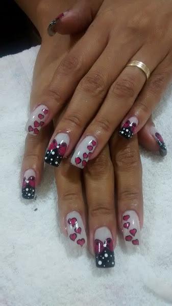 rosa, coração, laço, preto, branco unhas  manicure e pedicure