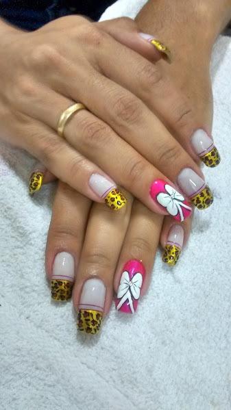 onça, laço, rosa, branco unhas  manicure e pedicure