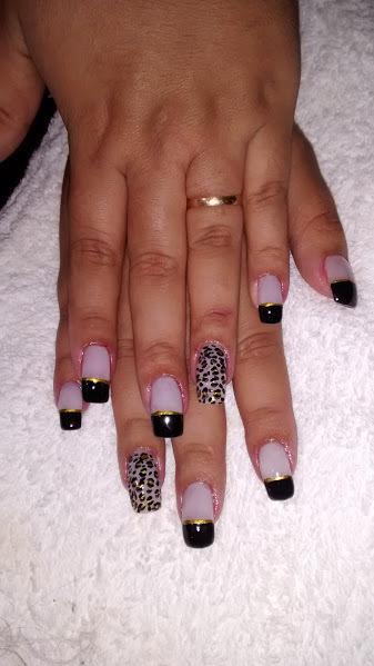 onça, preto, francesinha unhas  manicure e pedicure