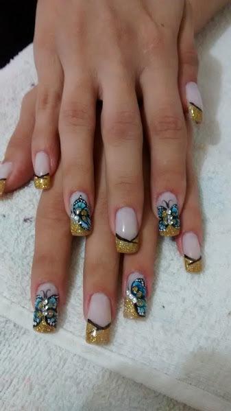 borboleta, dourado, azul, preto unhas  manicure e pedicure