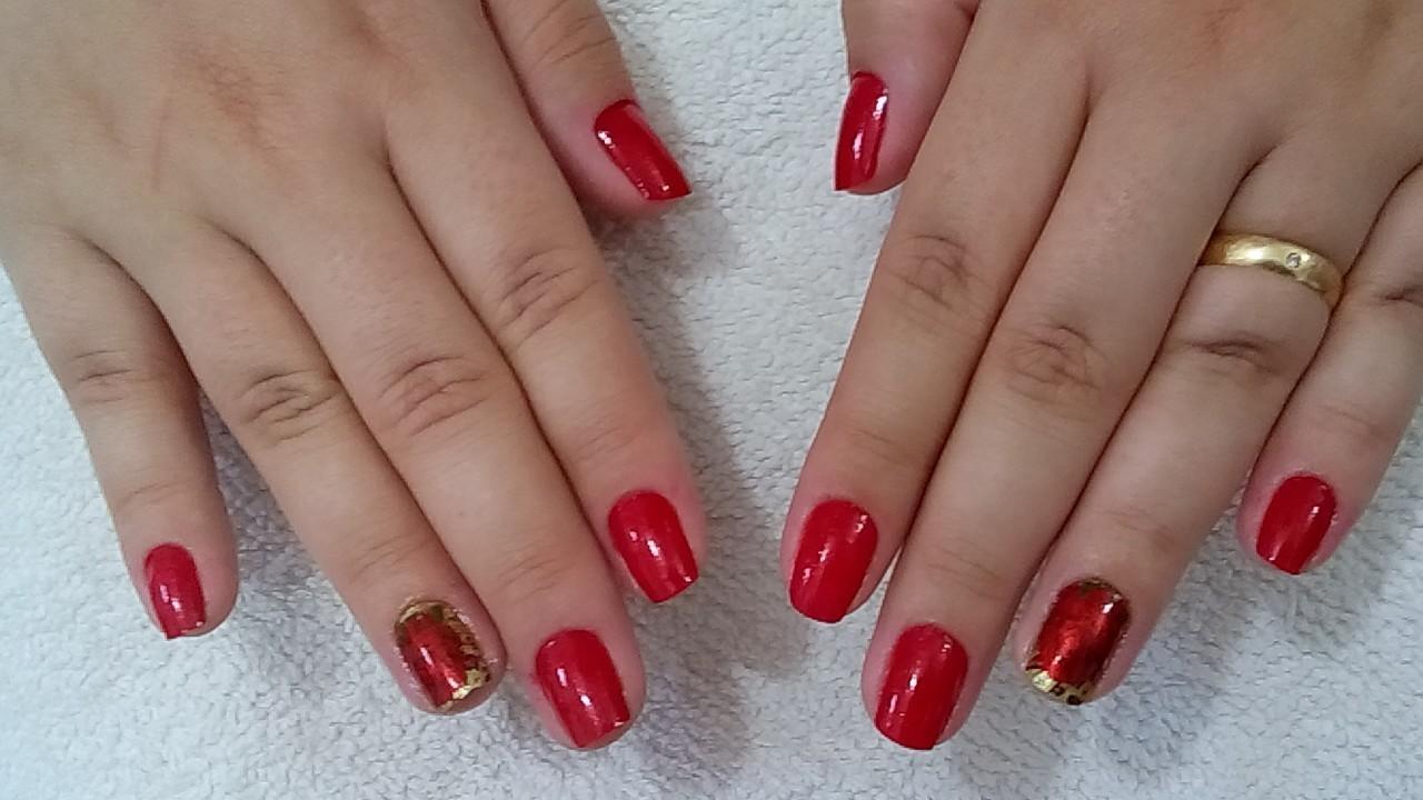 vermelho, dourado unhas  cabeleireiro(a)