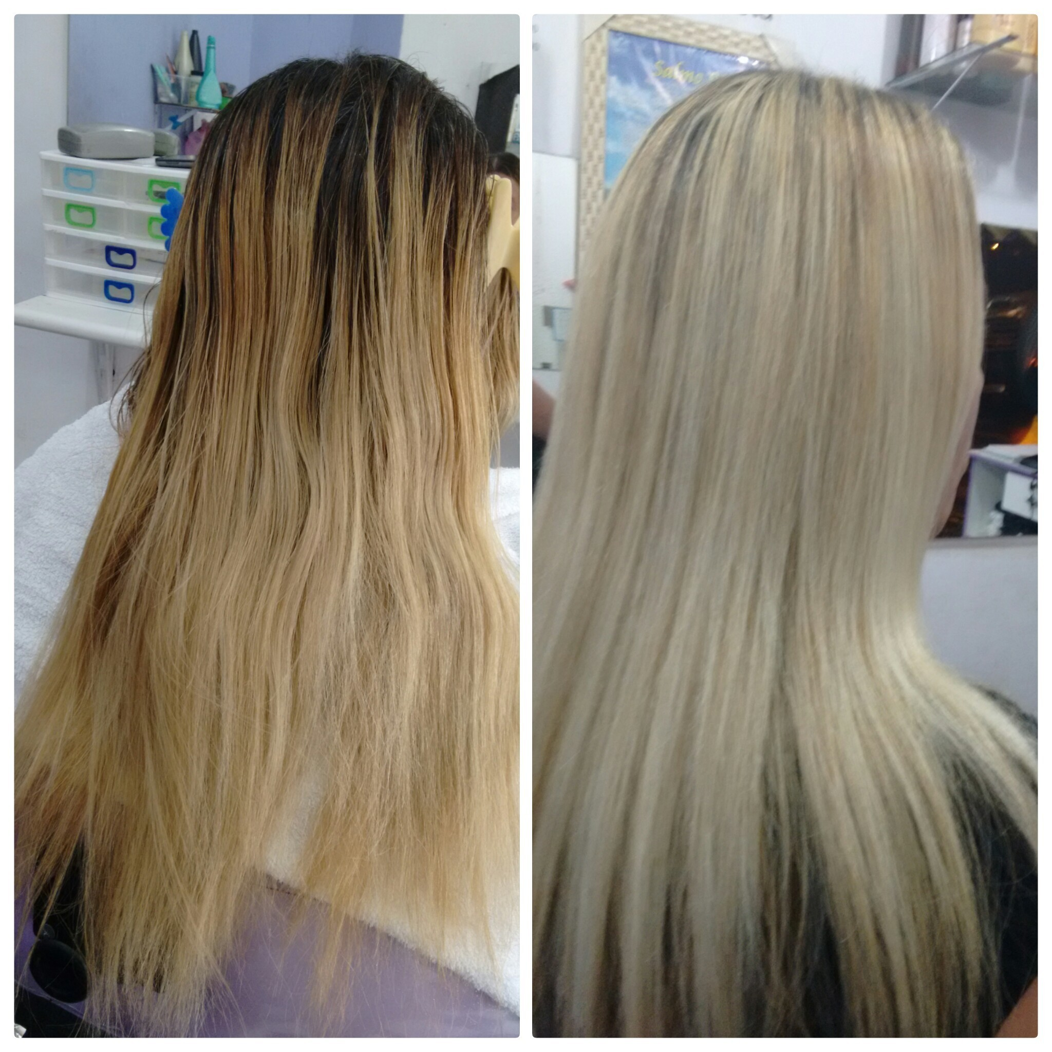 Correção de cor, coloração, loiro, cabelo longo, liso cabelo  cabeleireiro(a)