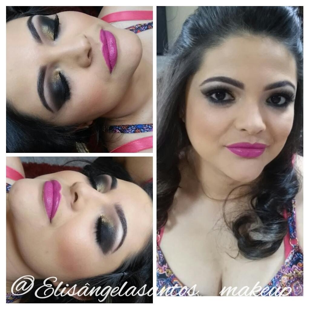 Rosa, preto, dourado, esfumado, festa, pele branca  maquiagem  maquiador(a)