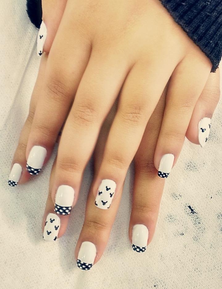 disney, poá, francesinha, nail art, mickey, unha decorada, preto e branco, unhas  manicure e pedicure