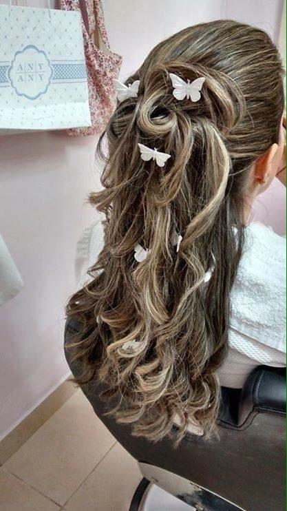 penteado semi preso, cachos, daminha, casamento, debutante,  cabelo  cabeleireiro(a)