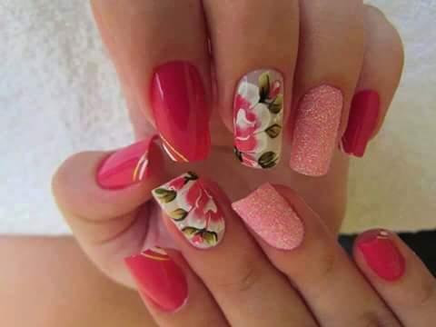 unha decorada, nail art, floral, flor,  glitter unhas  manicure e pedicure auxiliar administrativo auxiliar de limpeza secretário(a)
