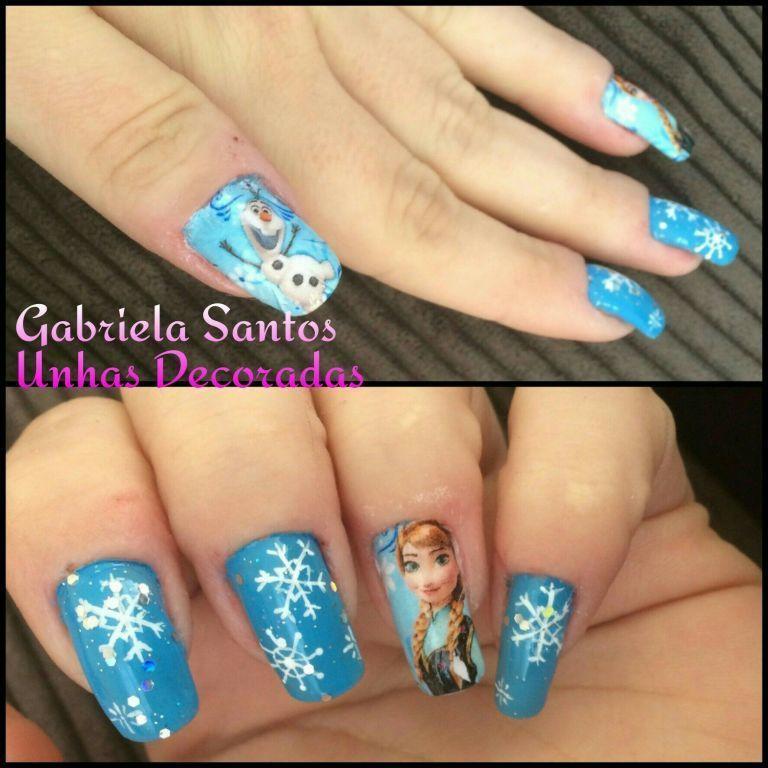 #UnhasDecoradas filha unica #Pelicula da #Frozen #ElsaeOlaf #NailArt #GabrielaSantosUnhasDecoradas  manicure e pedicure