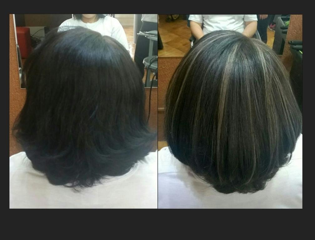 Tirando o preto azulado com mechas em tom avelã 💓  cabeleireiro(a) empresário(a) / dono de negócio designer de sobrancelhas