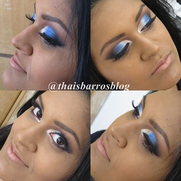Maquiagem Semi Cut Crease Azul #maquiagem #makeup #make maquiador(a) designer de sobrancelhas