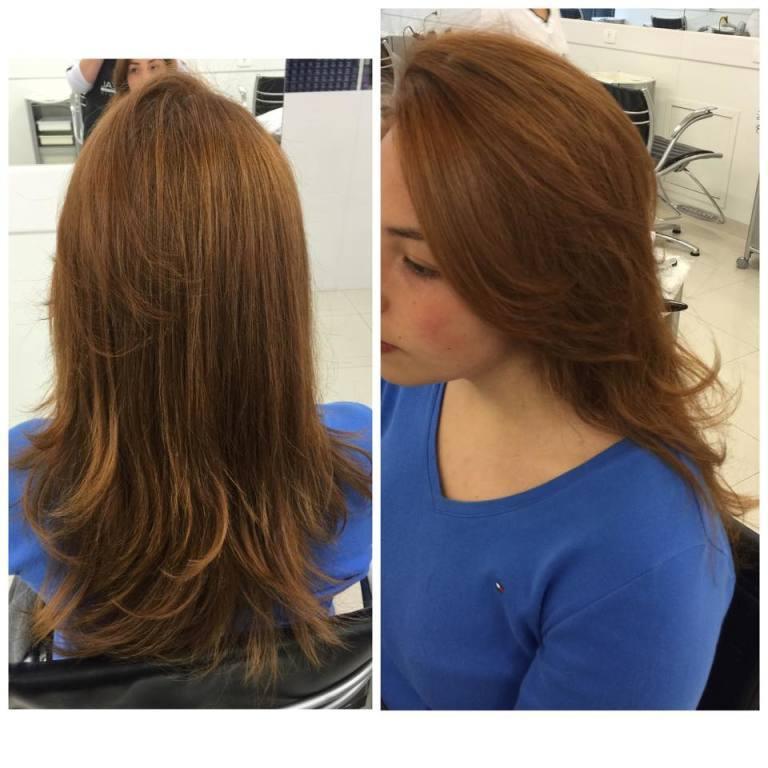 Corte em camadas  corte médio, cabelo  auxiliar cabeleireiro(a) auxiliar administrativo