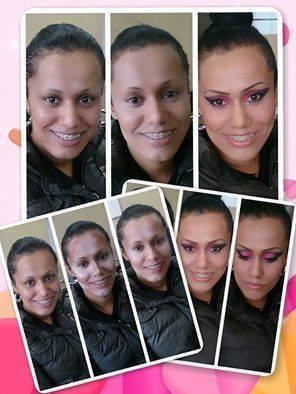 Antes e depoiss na aula deMakeup o contorno e a marcaçao do rosto e iluminaçao