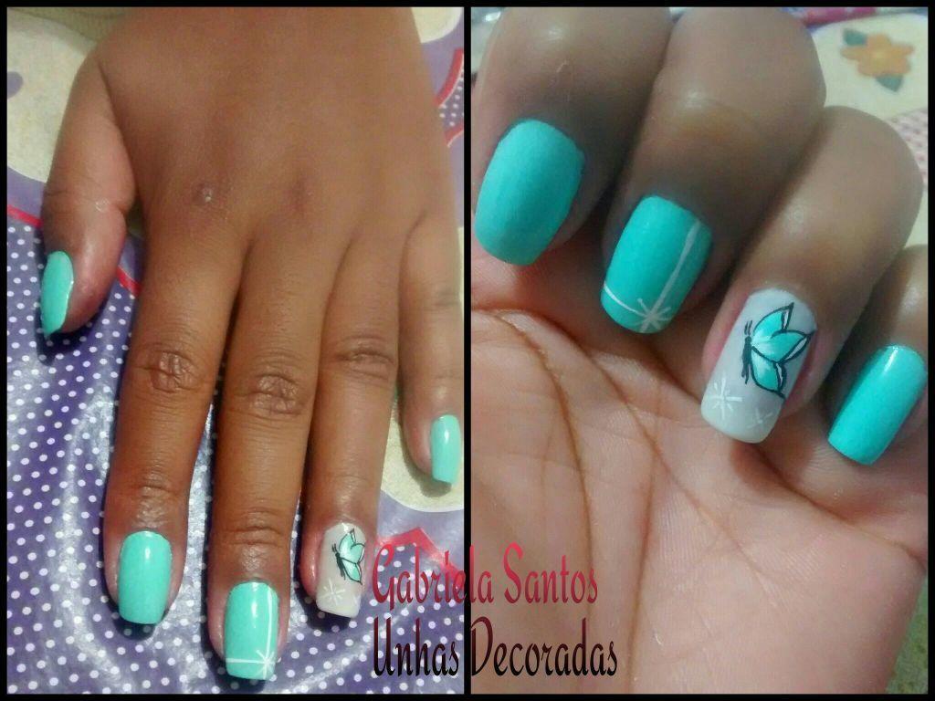 #UnhasDecoradas  filha unica #Borboleta #NailArt  #GabrielaSantosUnhasDecoradas manicure e pedicure