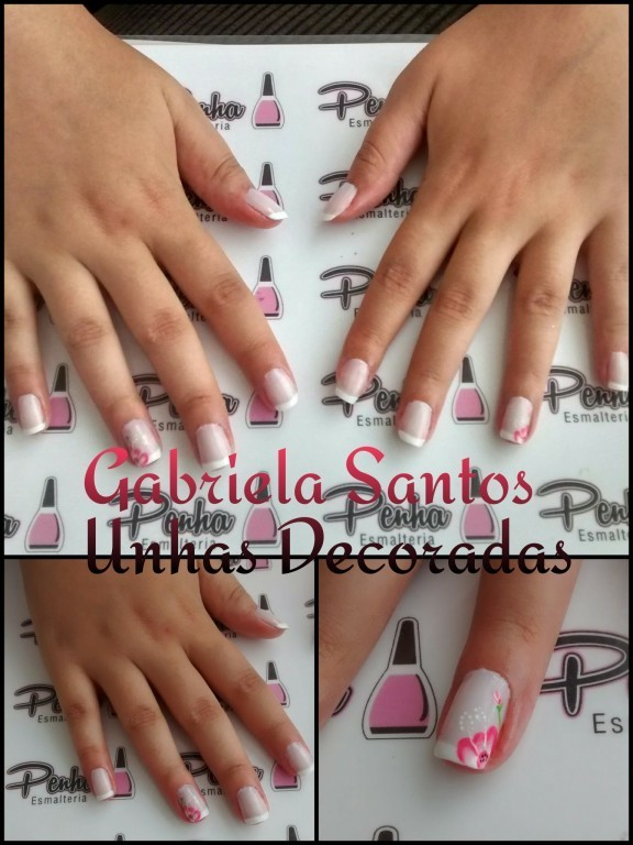 #UnhasDecoradas Francesinha com filha única de #FlorMexicana #NailArt #Decorada_a_Mão #GabrielaSantosUnhasDecoradas manicure e pedicure