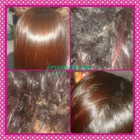 Esse cabelo foi feito escova progressiva o antes e depois. Já lavado e cercado apenas