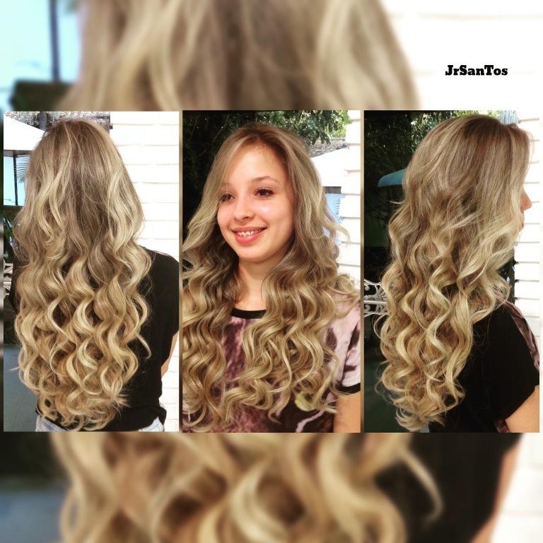 luzes, ondulado,  cabelo  cabeleireiro(a)
