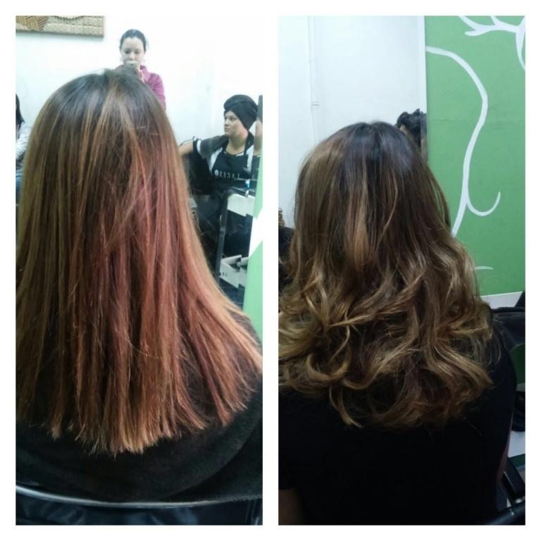 Antes e depois de um redutor de Aminoapple. cabeleireiro(a) maquiador(a)