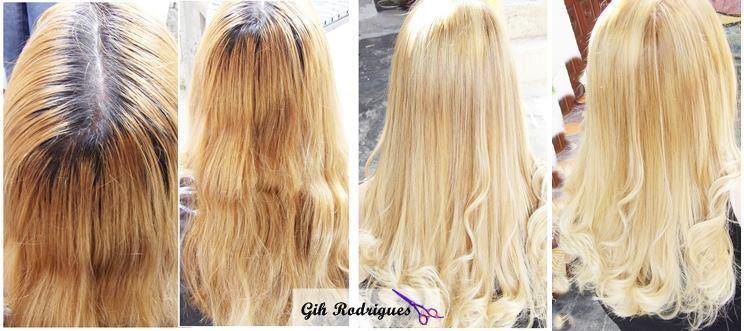 Antes e Depois - Coloração raiz + Mechas+reconstrução * Atendimento em domicílio.  #cabeloloiro #blondhair #reconstruçãodefios #Loiras #hair #madeixas maquiador(a) cabeleireiro(a)