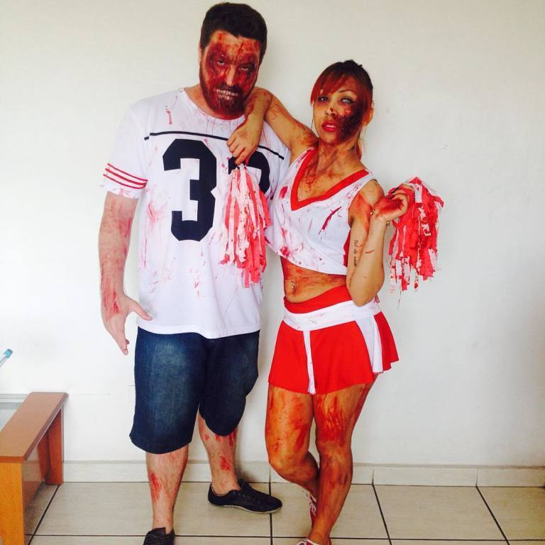 Jogador e cheerleader zumbis. maquiador(a) designer de sobrancelhas